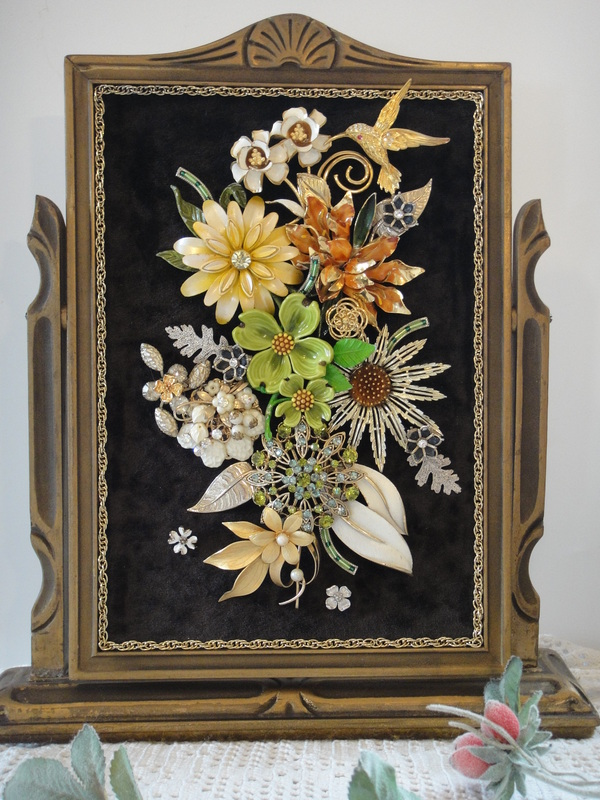 Framed Art Vintage Renewed Button Jewelry